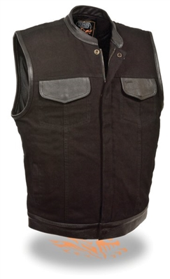 Black Denim Club Style Vest w/ Zipper & Snap