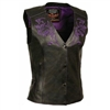 Women's Motorcycle Vest w/ Reflective Tribal Design & Piping