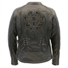 Women's Lightweight Leather Jacket with Lace and Grommet Details