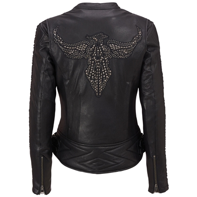 Ladies Leather Motorcycle Jacket w/Stud Bird Detail and Ruching