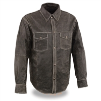 Men's Distressed Leather Shirt with Concealed Carry Pockets