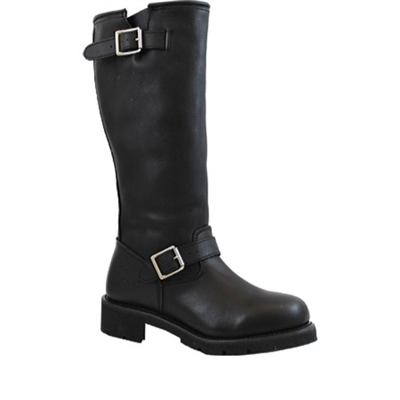 "16"" Men's Black Leather Engineer Boot"