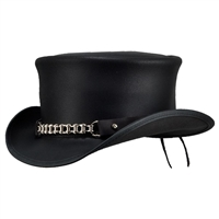 Genuine Leather Top Hat with Chain