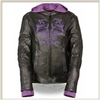 Ladies Leather Jacket with Purple Tribal Design and Hoodie