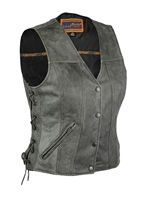 Women's Distressed Gray Vest