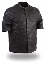 Men's Leather Motorcycle Short Sleeve Shirt