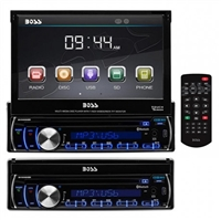 "Boss 7"" Single Din Motorized Touchscreen, Bluetooth, USB/SD, Remote"