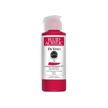 (13) Naphthol Red Medium (4oz Fluid Acrylic)