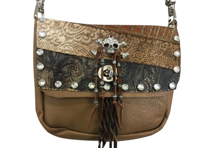 Glitter Skull Double Pocket Prem Hip Bag