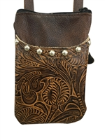 Brown Leaf Cell Phone Hip Bag