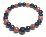 Stretchy Green, Blue & Red Goldstone Beaded Bracelet - Wrist Mala