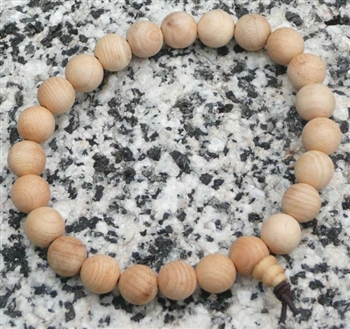 Cypress Wood Wrist Mala Prayer Beads