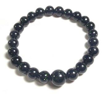 Stretchy Green Goldstone Beaded Bracelet - Wrist Mala