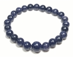 Stretchy Blue Goldstone Beaded Bracelet - Wrist Mala Prayer Beads