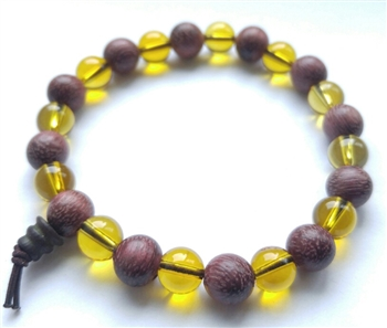 Purpleheart Wood Citrine Wrist Mala