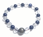 Crystal & Blue Goldstone Beaded Bracelet - Wrist Mala Prayer Beads 8mm
