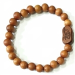 Jujube Wood Beaded Prayer Bracelet - Wrist Mala w/ Bodhidharma  and Where You Place Your Will Mantra - Prayer.