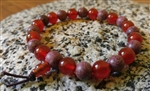 Purpleheart Wood & Carnelian Beaded Bracelet