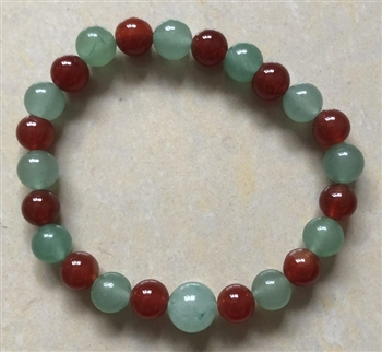 Yew Wood Beaded Bracelet - Wrist Mala Prayer Beads 8mm