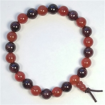 Carnelian & Garnet Beaded Bracelet - Wrist Mala Prayer Beads 8mm
