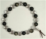 Crystal & Gold Sheen Obsidian Beaded Bracelet - Wrist Mala Prayer Beads 8mm