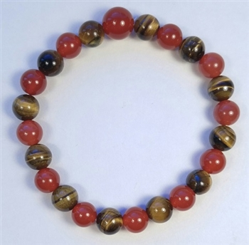 Carnelian & Tiger's Eye Beaded Bracelet - Wrist Mala Prayer Beads 8mm