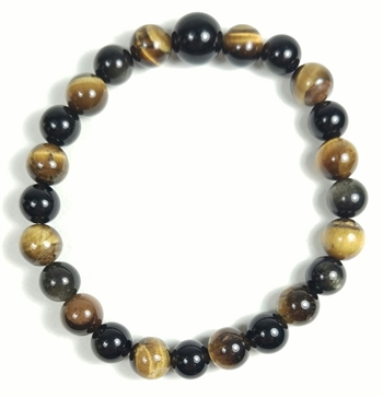 Tigers Eye & Gold Sheen Obsidian Beaded Bracelet - Wrist Mala