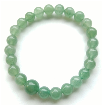 Green Aventurine Stretchy Beaded Bracelet - Wrist Mala Prayer Beads 8mm