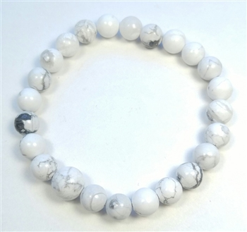 Howlite Stretchy Beaded Bracelet - Wrist Mala Prayer Beads 8mm