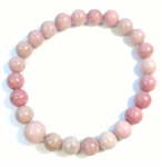 Rhodonite Stretchy Beaded Bracelet - Wrist Mala Prayer Beads - 8mm