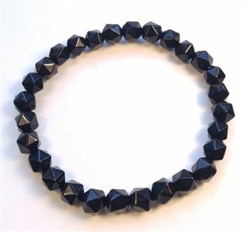 Black Tourmaline Stretchy Beaded Bracelet - Wrist Mala - Prayer Beads 8mm