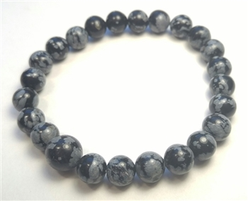 Snowflake Obsidian Stretchy Beaded Bracelet - Wrist Mala Prayer Beads 8mm