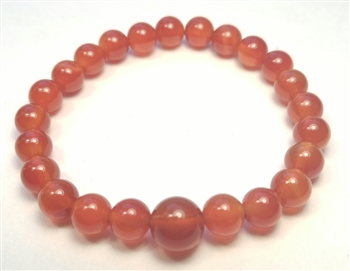 Carnelian Beaded Bracelet - Wrist Mala Prayer Beads 8mm