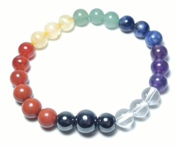 Real Gemstone Chakra Beaded Bracelet - Wrist Mala Prayer Beads 8mm