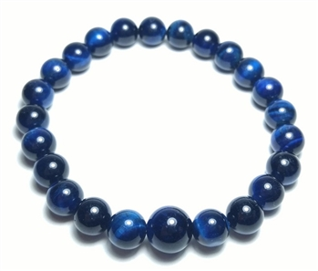 Blue Tiger's Eye Beaded Bracelet Wrist Mala 8mm