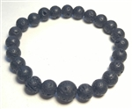 Lava Stone Beaded Bracelet - Wrist Mala Prayer Beads 8mm
