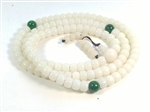 Buri Palm Nut 108 Bead Mala - Prayer Beads White 7x9mm