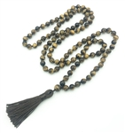 Tigers Eye Knotted 108 Bead Buddhist Mala