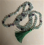 Rainbow Fluorite Knotted 108 Mala Prayer Beads - 8mm
