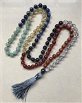 Real Gemstone Chakra Knotted Mala Prayer Beads 8mm
