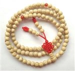 Stretchy White Lotus Seed 108 Bead Mala