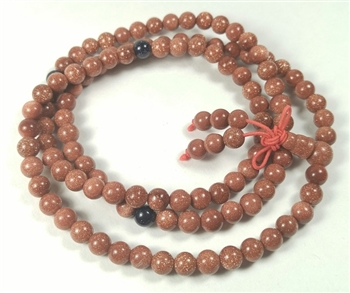 Stretchy Goldstone 108 Bead Mala