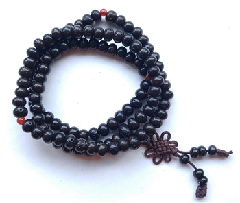 Stretchy Black Lotus Seed 108 Bead Mala - Prayer Beads - 6x8mm Beads