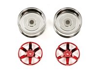Tamiya Red Plated 2-Piece 6 Spoke Wheels 26mm Width + 4 Offset 54552