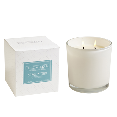 Agave  Citron White Candle 2 Wick 12oz.