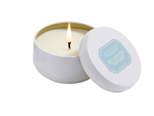 Blu Eucalyptus candle in white tin 6oz.