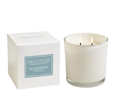 Blu Eucalyptus 2 wick candle white glass 12oz.