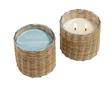 Blu Eucalyptus 2 wick hand woven glass candle 12oz.