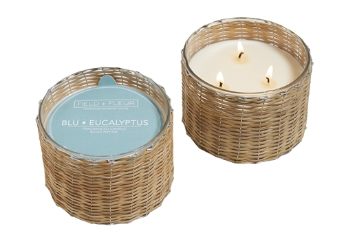 Blu Eucalyptus 3 wick hand woven glass candle 21oz.