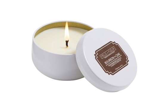 Bourbon Oak candle in white tin 6oz.